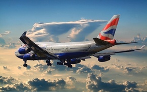 Картинка Небо, Облака, Рисунок, Самолет, Аэропорт, Boeing, Боинг, 747, Пассажирский, Авиалайнер, British Airways, В Вохдухе, Суровые …