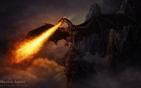 Картинка скалы, огонь, дракон, the dragon of hell