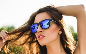 Картинка лето, лицо, тепло, волосы, помада, очки, красотка, Alyse M