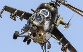 Обои вертолёт, ударный, полет, Ми-35