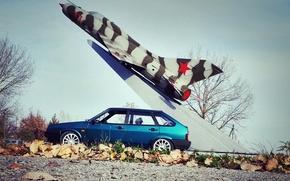 Картинка машина, авто, листва, ракета, Lada, auto, Лада, 2109, Ваз, VAZ, ВА-2109