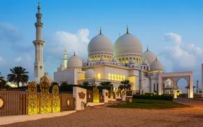 Картинка песок, пальмы, газон, забор, ворота, башни, кусты, дворец, Abu Dhabi, ОАЭ, купола