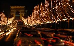Картинка ночь, новый год, париж, гирлянды, триумфальная арка