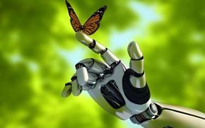 Картинка макро, природа, бабочка, механизм, робот, рука, размытость, robot, андроид, android, hi-tech, боке, контакт, wallpaper., technology, ...