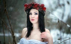 Картинка зима, девушка, портрет