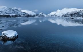 Обои норвегия, сенья, остров, горы, снег