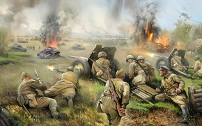 Картинка бой, арт, солдаты, Великая Отечественная война, Красная Армия