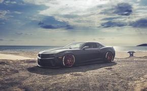 Картинка Chevrolet, Camaro, Red, Black, Wheels