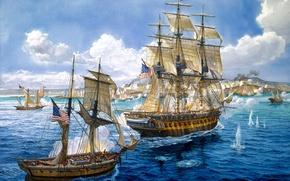 Картинка корабли, бой, арт, художник, флот, морской, painting, залпы, позиции, орудий, береговой, Tom Freeman., Payment in …