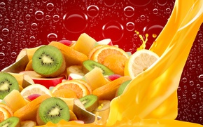 Обои пузыри, сок, фрукты, дольки