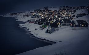 Обои snow, capital, Myggedalen, capital region, greenland, cityscape, cold, winter, night, Nuuk, dark, houses, landscape
