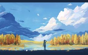 Картинка осень, облака, горы, озеро