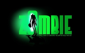 Обои зеленый, зомби, Zombie