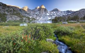Картинка небо, горы, природа, озеро, ручей