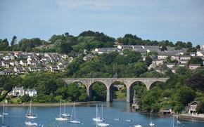 Картинка Англия, Мост, Великобритания, Bridge, England, United Kingdom, Saltash, Солтэш, Coombe Viadukt