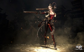 Картинка fire, red, flame, girl, sword, gun, pistol, rock, game, weapon, hat, woman, online, dust, ken, ...