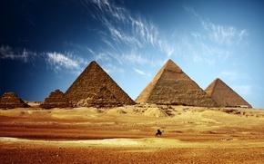 Обои египет, пирамиды, небо, песок