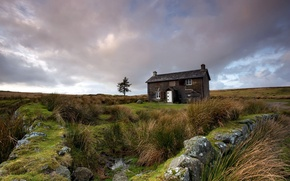 Картинка поле, пейзаж, дом, забор