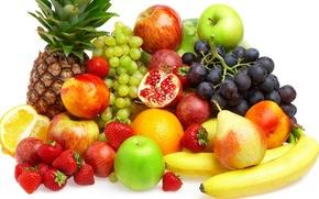 Обои fruits, персики, berries, ягоды, фрукты, апельсин, ананас, груши, яблоки, виноград, бананы, клубника