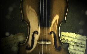 Обои ноты, музыка, скрипка, струны, music, violin