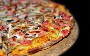 Картинка макро, еда, пища, пицца, вкусно, сытно