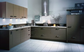 Картинка стиль, серый, часы, кухня, посуда, фрукты, порядок