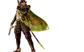 Картинка пистолет, меч, доспехи, самурай, белый фон, шлем, эмблема, плащ, ножны, повязка на глаз, Sengoku Basara, …