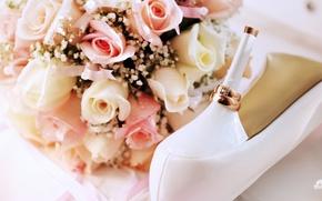 Картинка цветы, праздник, обувь, кольца, кольцо, туфли, каблук, свадьба, праздники, обручальное