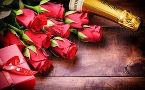 Картинка розы, love, rose, шампанское, heart, romantic, Valentine's Day