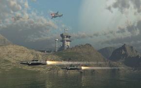 Картинка небо, вода, облака, корабль, планета, башня, recon no displacement
