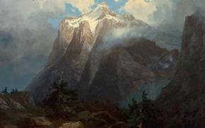 Картинка пейзаж, горы, Альберт Бирштадт, Mount Brewer from King's River Canyon. California
