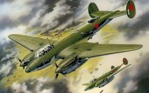 Картинка небо, рисунок, арт, бомбардировщики, Пе-2, советские, пикирующие, ВоВ, бомбометание