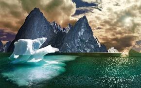 Обои облака, небо, озеро, горы, лед
