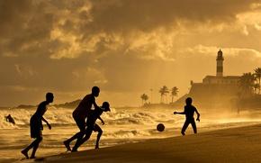 Картинка waves, beach, sunset, soccer, Brazil, Salvador, Bahia, Farol da Barra