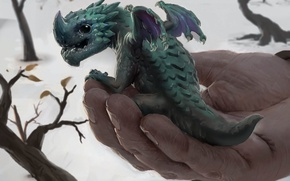 Картинка фентези, доброта, рука, арт, дракончик, Peter Stapleton