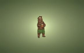 Картинка одежда, шапка, минимализм, медведь, кружка, светлый фон, bear