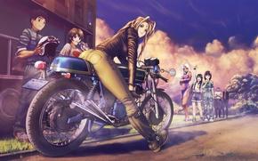 Картинка взгляд, закат, поза, улыбка, девушки, улица, мотоцикл, парни, art, персонажи, моя богиня!, belldandy, socha, urd, …