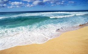 Картинка песок, море, волны, пляж, лето, берег
