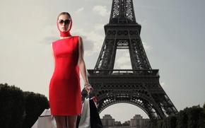 Картинка девушка, эйфелева башня, платье, пакеты, тёмные очки