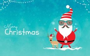 Картинка олень, Новый год, Санта Клаус, Merry Christmas
