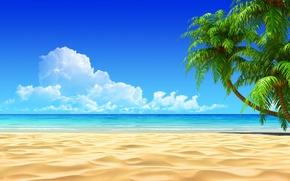 Обои песок, облака, пальмы, море
