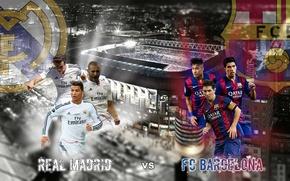 Картинка wallpaper, sport, Cristiano Ronaldo, night, stadium, football, Lionel Messi, Spain, Santiago Bernabeu, FC Barcelona, Madrid, ...