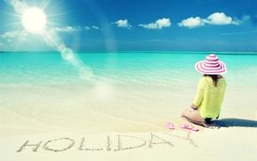 Картинка море, пляж, лето, девушка, солнце, отдых, шляпа, summer, beach, каникулы, sea, sun, holiday, vacation