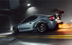 Картинка Car, Fire, Speed, Sport, FR-S, Scion, Rear, Burn
