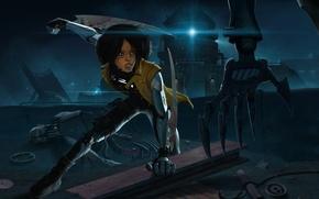 Картинка девушка, ночь, оружие, механизм, робот, рука, киборг, андроид, клинки, gunnm, gally, battle angel alita