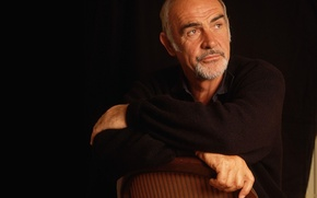 Обои стул, актёр, чёрный фон, мужжина, Шон Коннери, продюссер, Sean Connery