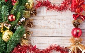 Картинка украшения, Новый Год, Ветки, Шарики, Доски, мишура, колокольчики, Шишки, Праздники, Шаблон