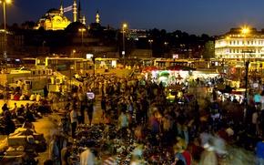 Картинка ночь, выдержка, Стамбул, Турция, night, Istanbul, Mosque, exposure, новая мечеть, Yeni Cami