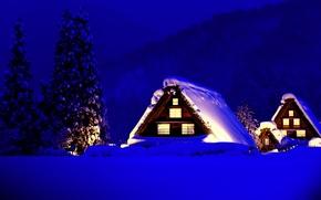 Обои домики, свет, снег, горы, зима, дома, деревья, ели