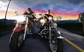 Обои знак, дорога, вектор, мотоцикл, Байкеры